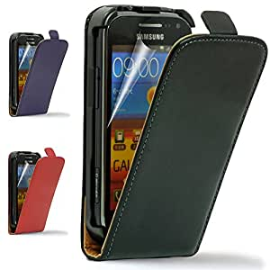 Super Hunkdorey Genuine Real Dark Purple Leather Folding Flip Case Cover for Samsung Galaxy Ace S5830 with Screen Protector and Cleaning Cloth