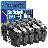 PlatinumSerie® 5x Beschriftungsband kompatibel für Brother P-Touch TZ-241 TZe-241 350 3600 540 540C 550 7500VP 7600VP 9200DX 9200PC 9400 9500PC 9600 9700PC 9800PCN D 400 D 400AD D 400VP