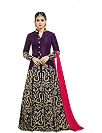 AnK Women's Purple Banglori Silk Satin Embroidered Long Semi-Stitched Anarkali Salwar Suit