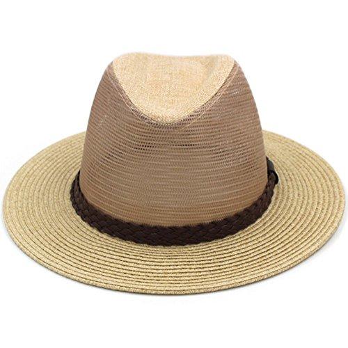 XHCP Männer mittleren Alters Sonnenhut, Lässige Mesh Atmungsaktive Sonnenhut Sommer Strand Hut Sonnencreme Strohhut (Fedora-hüte Für Männer Mittleren)