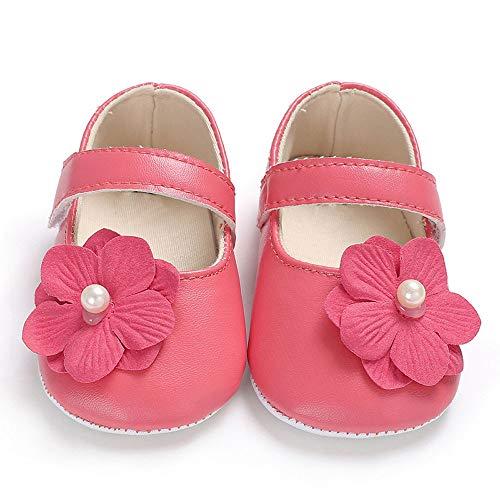 SUCES Mädchen Bogen Leder Weiche Schön Schuhe Prinzessin Baby Süß Babyschuhe Kleinkind Atmungsaktiv Einzelne Schuhe (Wassermelonenrot,1)