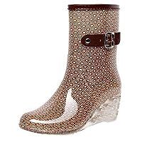 FEELHH Warm Rain Boots,Punk Style Lightweight On Comfy Mid Snow Wedges Boots Women