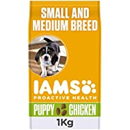 Iams ProActive Health Complete and Balanced Puppy Dog Food with Chicken for Small and Medium Breeds, 4 x 1 kg