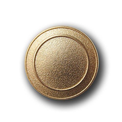 Knopfparadies - 6er Set schlichte strukturierte Ösen Metall Knöpfe mit zwei kreisförmigen Zier-Rillen / matt altgoldfarben / Metallknöpfe / Ø ca. (Kostüme Rille Gold)