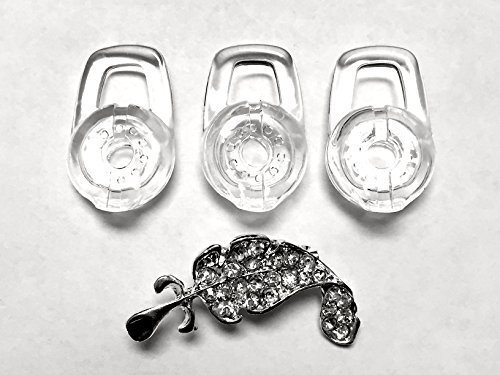 BSI 3pcs Large Clear Eargels for Plantronics Discovery 925 975 Modus HM1000 HM1100 HM1700 HM3500 HM3700 Savor M1100 Marque MX100 M100 M100i M155 M25 Bluetooth Headset Earbud Eartips Gels Replacement Parts + Nice Crystals Feather Brooch - Savor M1100 Bluetooth-headset