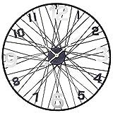 Große Metall XXXL Wanduhr Uhrwerk Dekouhr Nostalgie Modell mit schwarzen Fahrrad-Speichen und Lilie. Von Haus der Herzen®