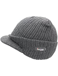 Mens Peak Beanie Hat in Black with Thinsulate Insulation