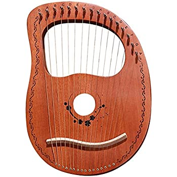 16 Metal String Mahogany Plywood Body String Instrument with Tuning Wrench and Carry Bag Lyre Harp for Instrument Lovers Beginners