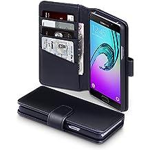 2016 Galaxy A5 Cover, Terrapin Étui Housse en Cuir Véritable pour Samsung Galaxy A5 2016 Coque Cuir - Noir