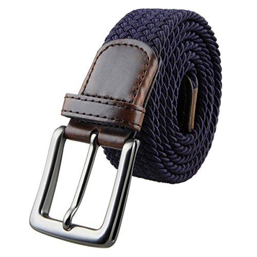Shanxing Elastischer Stoffgürtel Geflochtene Stretchgürtel Flechtgürtel Dehnbarer Gürtel für Damen und Herren, #2-Marine Blau, One Size