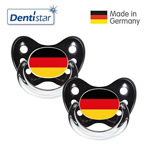 Preisvergleich Produktbild Dentistar® Silikon Schnuller 2er Set inkl. 2 Schutzkappen - Nuckel Größe 2, 6-14 Monate - Fussball Fan Kollektion – Deutschland Fahne, schwarz