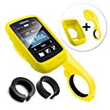 TUFF LUV [Combo / Kit 3 in 1], Étui de protection en silicone et protecteur d'écran Fixation Avant / Ordinateur de Guidon Support mount pour Garmin Edge Touring 800 / 810 with Out-Front Handlebar Mount - Jaune