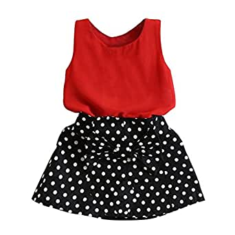 Imported Toddler Girls Summer Outfits Clothes T-shirt Tops Polka Dots Skirt Set 120