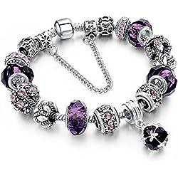 BS - Nouveauté Bracelet Charms - Plaqué Argent, Breloques Cristal et Verre Violet - Collection 'Boîte de Pandore' Exclusive 2018