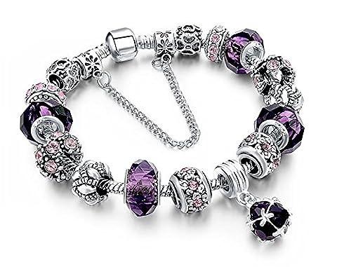 BS - Nouveauté Bracelet Charms - Plaqué Argent, Breloques Cristal