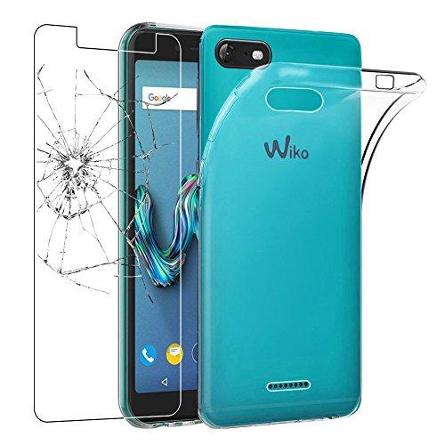 Ebeststar - cover wiko tommy 3 custodia trasparente silicone gel tpu protezione morbida e sottile, trasparente + pellicola vetro temperato [apparecchio: 149 x 71.8 x 9.3mm, 5.0'']