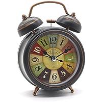 Tochange Antiguo reloj de alarma de Bell doble Reloj de cama vintage Mini no-ticking