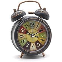 Antiguo reloj de alarma de Bell doble Reloj de cama vintage Mini no-ticking Silent Sweep Reloj de mesa retro con retroiluminación Sala de estudio de dormitorio redondo