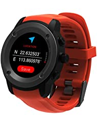 Parnerme GPS Courir Montre Moniteur Sport Montre Smart Notifications GPS Montre Multi-Sports Modes Téléphone Compatible avec 3-4 Jours Station de Charge en Standby (Orange)