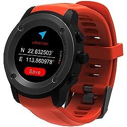 ParnerWin GPS Running Reloj Monitor de ritmo cardíaco Reloj deportivo Reloj inteligente Notificaciones Reloj inteligente GPS para hombres Mujer Modos multideportes Teléfono compatible con 3-4 días Estación de carga en espera (Naranja)