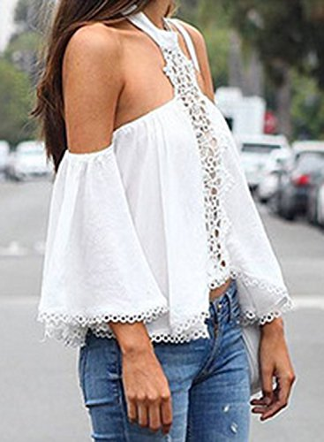 ACHICGIRL Women's Halter off Shoulder Flare Sleeve Chiffon Blouse white
