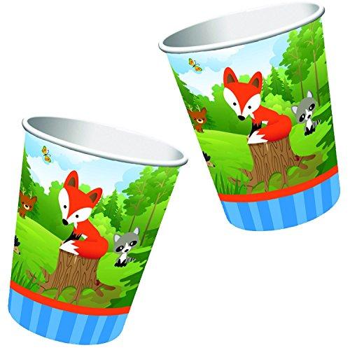 8-teiliges Becher-Set * KLEINER FUCHS * für Kindergeburtstage oder Motto-Partys // Geburtstag Party Pappbecher Partybecher Cups Motto Wald