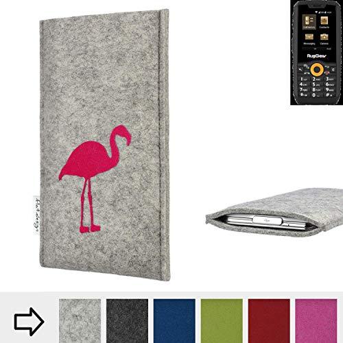 flat.design Handy Hülle für Ruggear RG150 FARO mit Flamingo Filz Schutz Tasche fair handgemacht Case