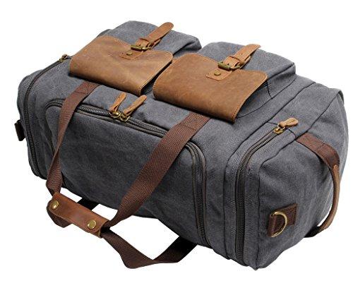 FAIRY COUPLE Unisex Canvas Handtasche Gepäck Tasche für Reise Laptop Ausflug Camping Messenger Tasche Schultertasche C3016,kaffee dunkel grau