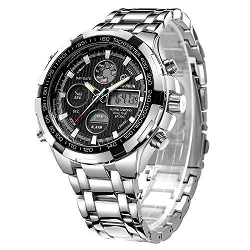 Reloj de pulsera analógico y digital de acero de lujo para hombre, color negro y plateado, deportivo, militar, para actividades en exteriores