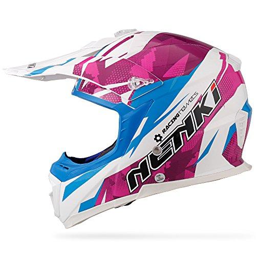 NENKI NK-316 Motocross Helm Downhill Enduro Quad Crosshelm für Herren und Damen mit ECE-Zulassung (Weißes Blaues Veilchen, L 59-60CM)