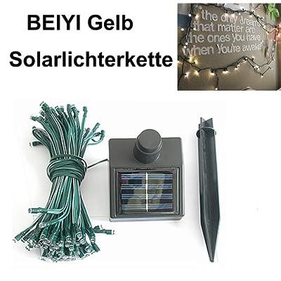 BEIYI FL0905 Solarfun Lighting Solar Lichterkette 10M 60 LED Weihnachtsbeleuchtung Gelb von Guangzhou Beiyi Informationstechnik GmbH - Lampenhans.de