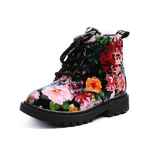 MEIbax Mädchen Mode Floral Kinder Schuhe,Baby Martin Stiefel,Casual -