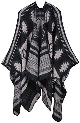 Mochoose Poncho et Cape Tricot Châle Plaid Écharpe Couverture Wrap Tartan Chaude Hiver pour Femme Noir