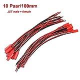 10 Paar 100mm JST BEC Adapterkabel Stecker Buchse Premium mit Kabel Draht weiblich und männlich für RC BEC Lipo Akku