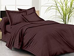 Trance Home Linen 100% Premium Cotton 300TC Self Satin Stripe Single Bed sheet with pillow covers (Chocolate Brown)