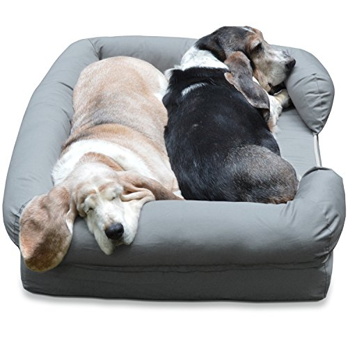 [NEW in UK] PetFusion Ultimate Dog Bed & Lounge. (Large Gray, 92x71x23CM). Premium Edt Solid 10.5CM Memory Foam