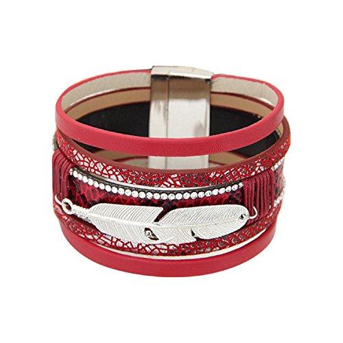 Braccialetti, oyedens modalità piuma Unisex Pelle multistrato fascino magnetica Bracciale rigida, vino rosso