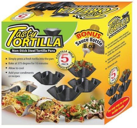 Leckere Tortilla antihaftbeschichtet Stahl Tortilla Pfannen, 4Tortilla Form und 1Sauce Flasche 8Oz Tortilla Keeper