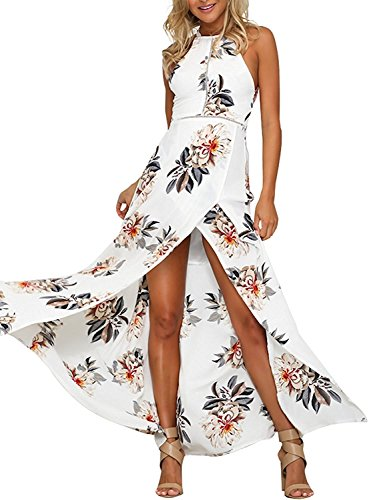 MODETREND Mujer Vestido Largo de Sin Mangas Escotado por Detrás Maxi Vestidos Playa Playero Vacaciones y Coctel Partido Blanco M