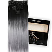 AIMEI 24 Inches(61cm) Long Straight 7 Pieces Full Head 16Clips Womens Ladies Girls Clip in Hair Extensions Hairpiece (Black to Silver Grey)