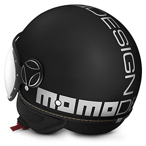 Helm Demi Jet Momo Design Fighter Evo schwarz matt/weiß Größe ML (Helm Jet Fighter)