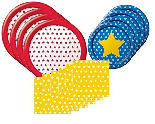 BlackLabel Direct Modern Stars Patriotisches Party-Set für 10 Gäste, inkl. Teller und Servietten
