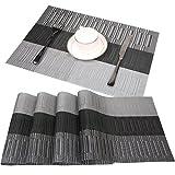 PVC Platzsets Bambus Famibay Stoff Tischsets Waschbar 4er Set Rutschfest Platzdeckchen Kunststoff Tischmatten