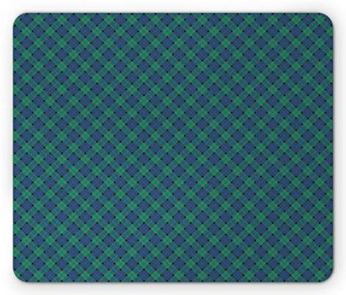 25 Belkin Components (Plaid Mouse Pad, Striped Plaid Pattern with Green and Blue Shades of Colorful Print in Irish Style, Standard Size Rectangle Non-Slip Rubber Mousepad, Multicolor)