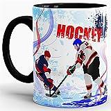 Eishockey-Tasse Wintersport - Farbtasse Innen und Henkel Schwarz / Kaffeetasse / Mug / Cup - Qualität Made in Germany