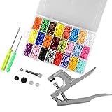 ASIV 360pcs T5 Snap Botones de botón 24 colores + alicates rápidos sistema de herramienta del sacador (1x alicates, 1x alambre, 1x destornillador, 1x barra de metal, 2x casquillo plástico)