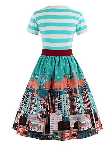 MODETREND Damen Sommerkleid mit VAusschnitt und Gürtel Retro Blüte Drucken  Gestreift Partykleid Abendkleid Casualkleid Kleid Stadt