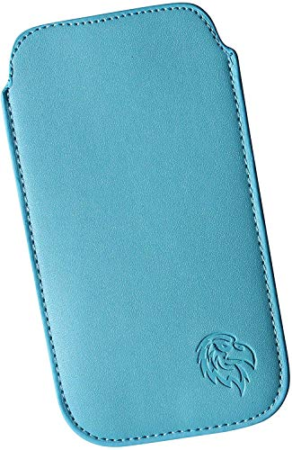 Schutz-Tasche passend fuer Samsung Galaxy A5 (2016), Pull-tab Handy-Huelle herausziehbar, Etui genaeht mit Rausziehband, duenne Tasche mit exklusivem Motiv Adler L Hell-Blau