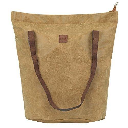 Damen Shopper Damen Tasche Umhängetasche Strandtasche Handtasche Bag CL 425 (Camel) (Stoff Handtaschen Camel)