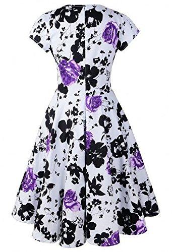 iLover Vintage Floral années 50 's Style Audrey Rockabilly Swing robe de fête de pique-nique Violet